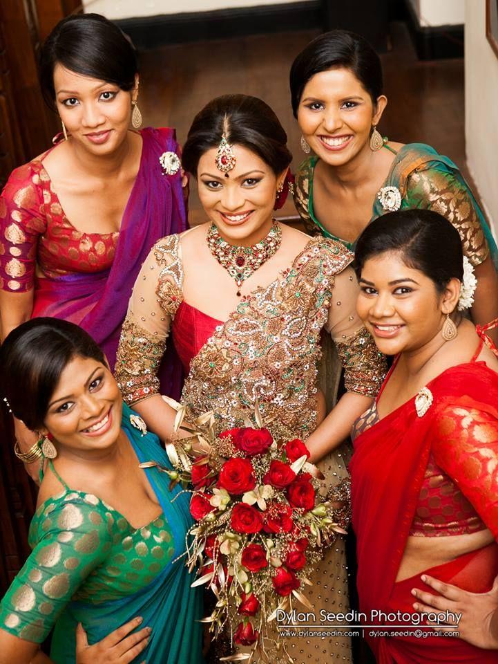 beautiful homecoming bride with her bridesmaids! sri lankan
