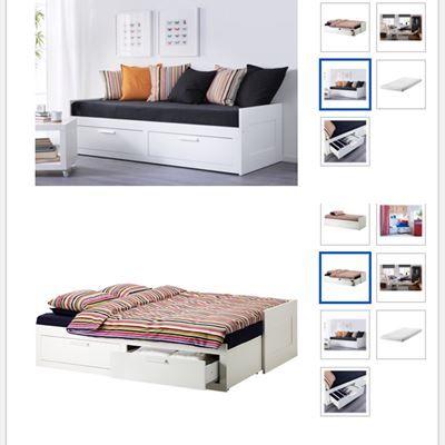 500 kr. - Sovesofa, IKEA, Medfølger sengestel, 2 skuffer og 1 madras