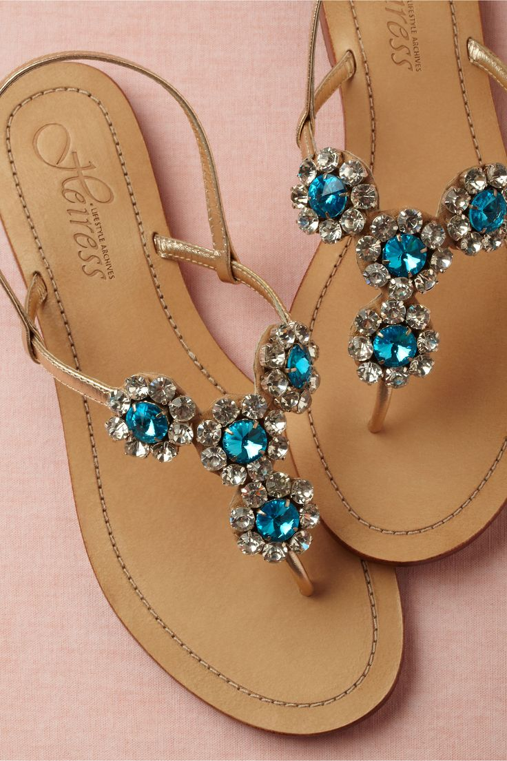 Jewels sandals. Maroma Sandals - Radiant blue flowers on a simple sandal silhouette.