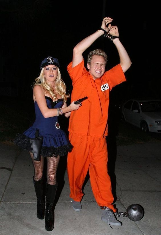 Easy, cute couple Halloween costume idea (even your boyfriend will agree to wear this) - You, a sexy police woman... him, a prisoner in an orange jumpsuit.  Easy!