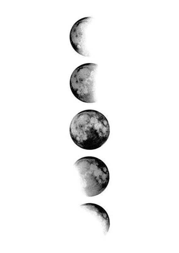 Moon Phases Wall Art Moon Print Moon Poster Moon Design Etsy In