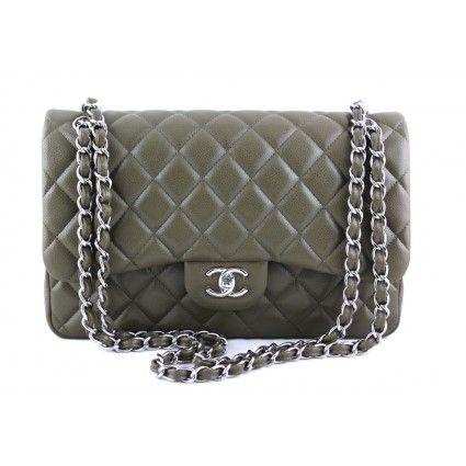 7bf56a1de66a44 Chanel Olive Green Caviar Jumbo 2.55 Classic Double Flap Bag | Portero  Luxury | Enjoy | Chanel, Bags, Chanel classic flap