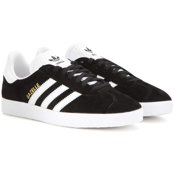 Adidas Originals Gazelle Suede Sneakers (£92) ❤ liked on Polyvore featuring shoes, sneakers, adidas, black, adidas originals sneakers, adidas originals shoes, adidas originals trainers, black trainers and suede sneakers