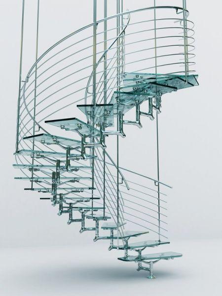 escaleras cristal y acero