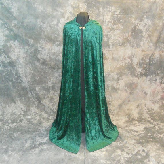 Hooded Cloak in Hunter Green Velvet  Fantasy by MidnightsMeadow