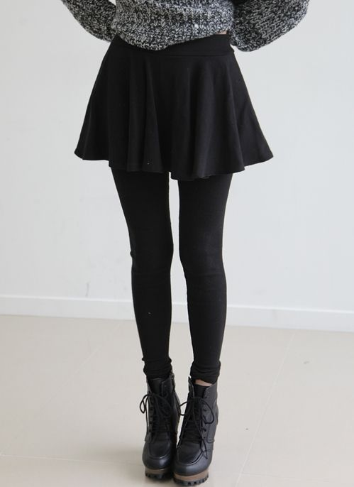 skater skirt, tights and boots