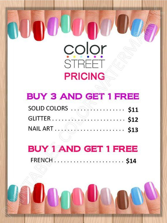 Color Street Nails Pricing Specials Flyer Poster Color Street Printable Color Street Price