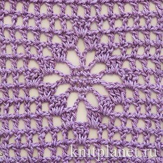Планета Вязания | Ажурный ромб на филейной сетке. Схема вязания узора крючком.