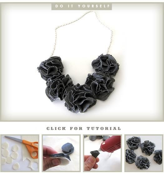 DIY necklaces using fabric flowers
