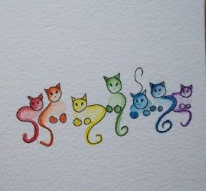 Rainbow cat doodles
