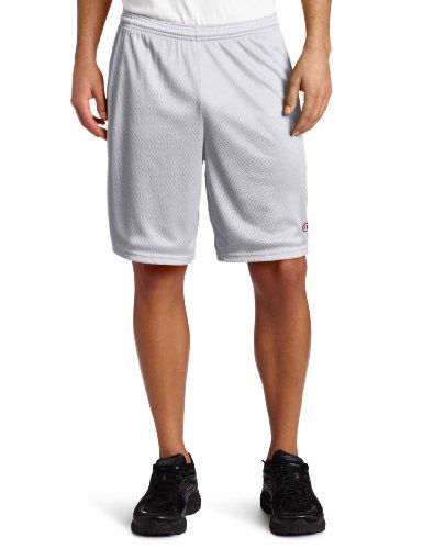 Champion Mens Long Mesh Short With PocketsAthletic GrayLarge *** Click on the image for additional details.