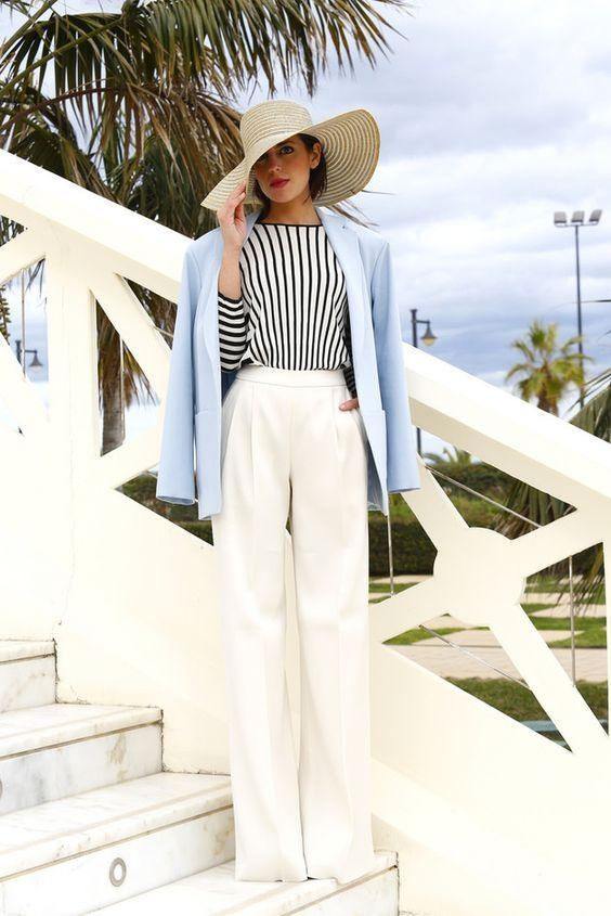 С чем носить белые широкие брюки. Примеры сочетаний.