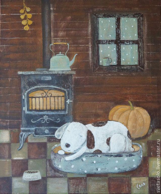 Купить А за окном то дождь, то снег - коричневый, собака, осень, чайник