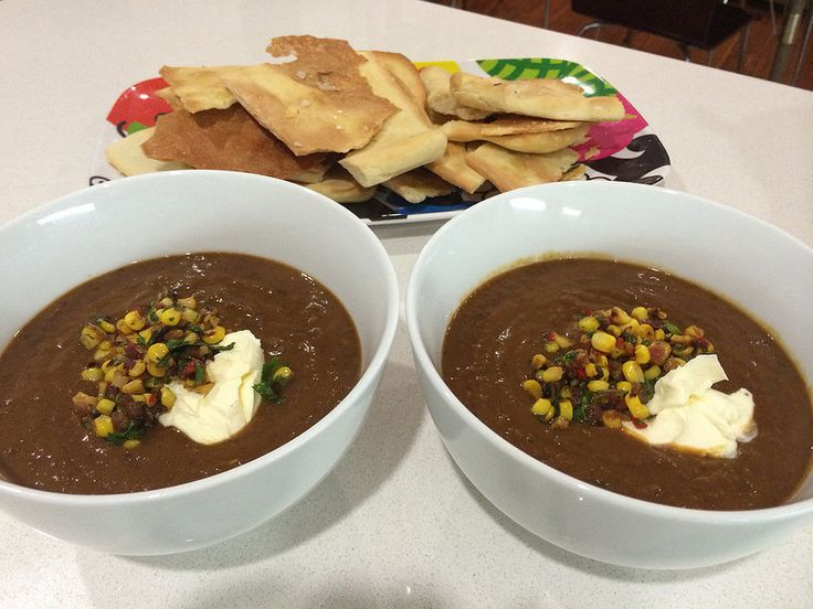 Jamie Oliver's black bean soup with corn salsa