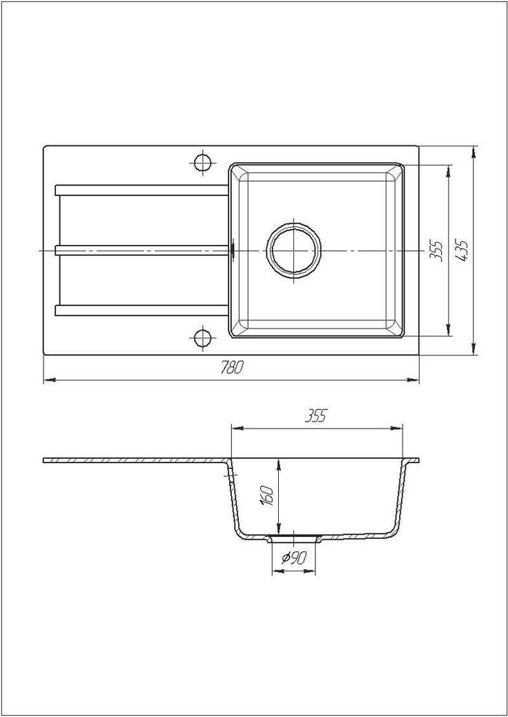 Кухонная мойка гранитная Galati Quadro Grafit (201)