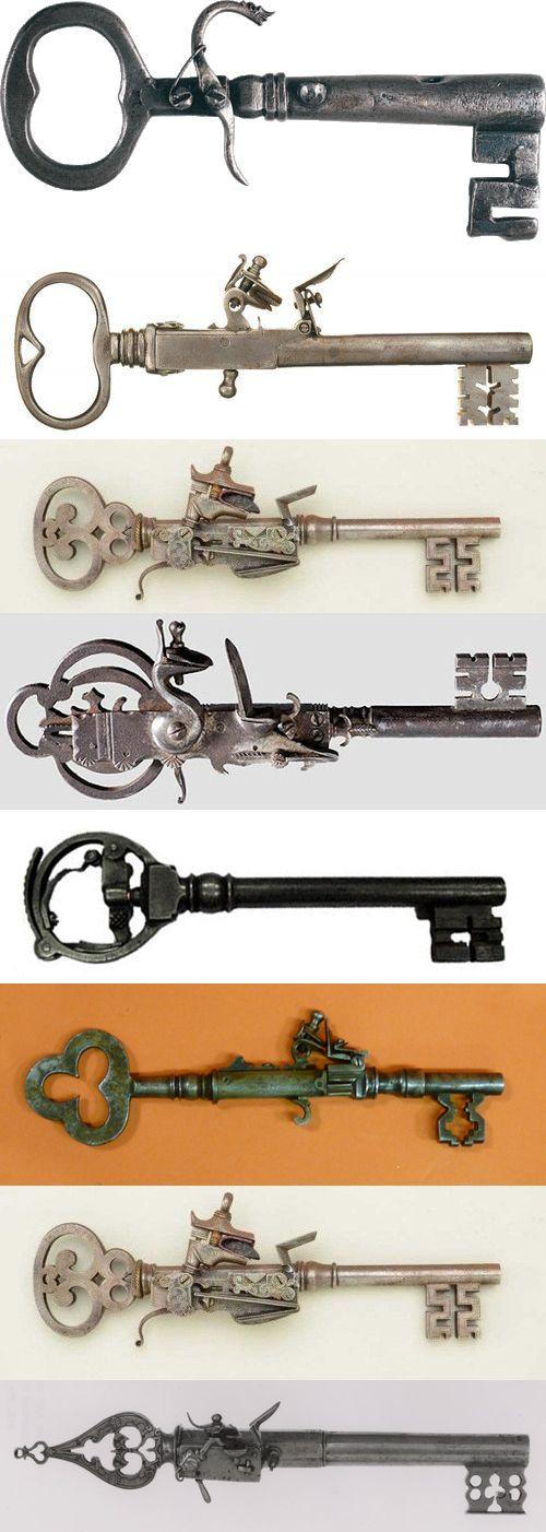 пистолеты,ключи,старинные,антиквариат,длинная картинка