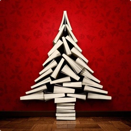 Christmas Tree Made From Books by bonnie
