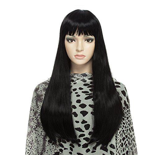 DAOTS Wig Long Straight Black Wigs for Women, Free Wig Ca...