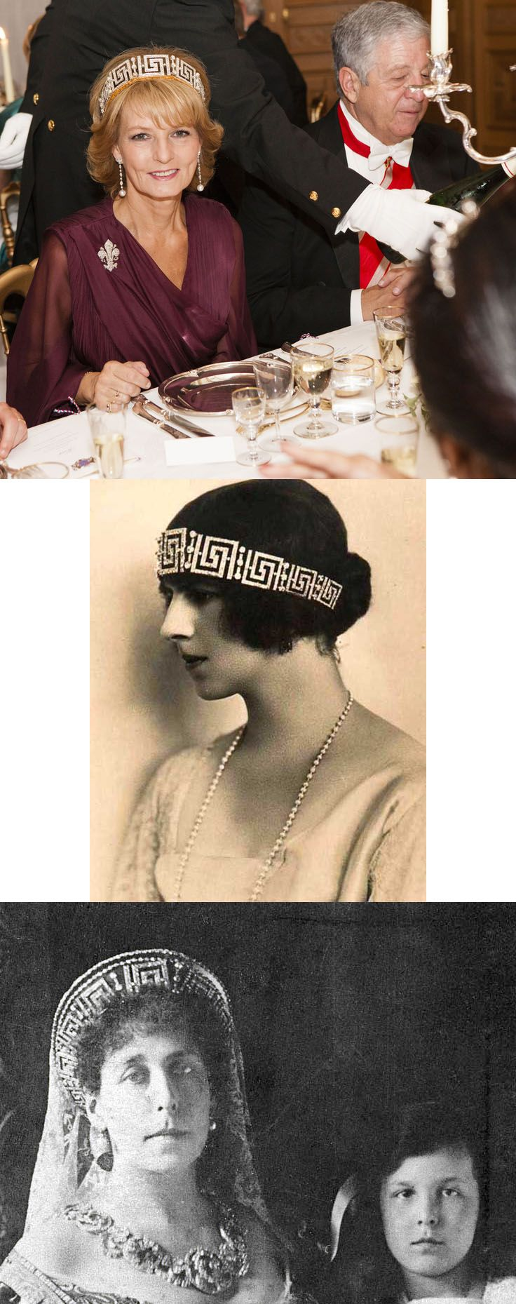 The Romanian Greek Key Tiara. Princess Victoria became Grand Duchess Viktoria Feodorovna (top) after her second marriage to Grand Duke Cyril Vladimirovich of Russia in 1905. This tiara is said that he presented her it. In exile after the revolution, she sold her tiara to her sister Queen of Romania. Queen was subsequently presented to Helen (middle), the bride of her son Carol in 1921. Bottom: Princess Margareta of Romania.