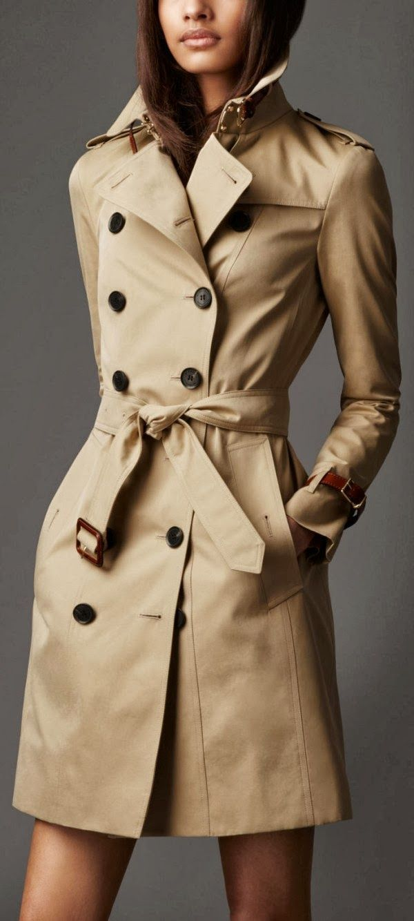 Burberry Long Leather Detail Gabardine Trench Coat - every single time I see trench coat it remind me of Castiel..... But, really, the look of this one is amazing