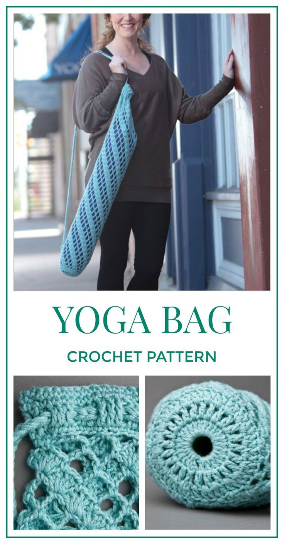 Crochet Your Own Yoga Mat Bag Drawstring Sling Pouch Carrier Pattern Download Crochet Crochetpattern Ad Tote Diy Crochet Patterns Carrier Pattern Crochet