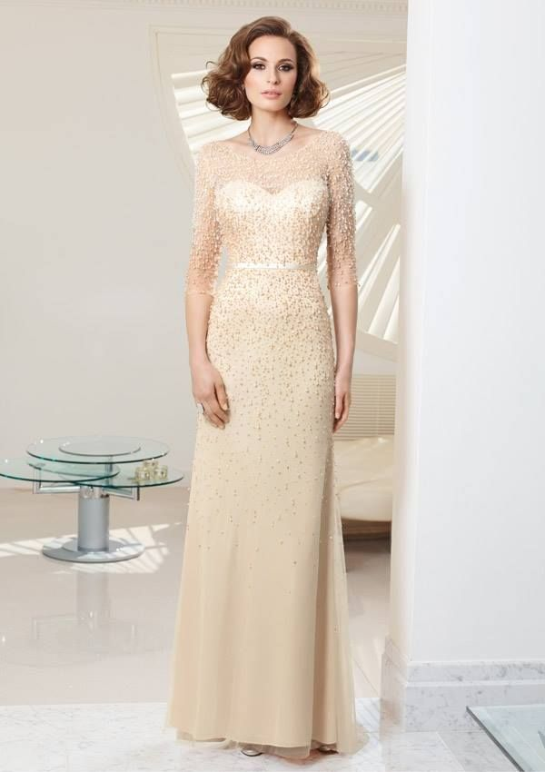 Style EZYOY Beaded Tulle/Jersey  Dress  Colors Available: Champagne, Navy, Silver. Sizes Available: 2-26*