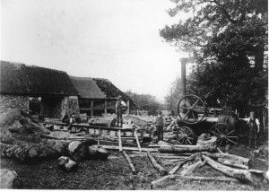 The Old Saw Mill Yard c 1891-1893. This circular saw was driven by a portable steam engine, as opposed to a traction engine which moved under it's own power. This engine was hauled by a horse, the shafts are visible in front of the smoke box. The chimney was hinged to fold horizontally, laying in the