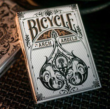 Bicycle Archangels Playing Cards by Bicycle. $7.95. Produced by theory11 and illustrated by Tom Lane in the United Kingdom. Feature the patented air-cushioned finish, softly beveled edges, and sandwich construction for enhanced game play. Made in the USA. From the Manufacturer                Inspired by mythology and illustrated by hand, Archangel Playing Cards represent a new level of elegance in playing card design. The design was produced by theory11 and illustrat...