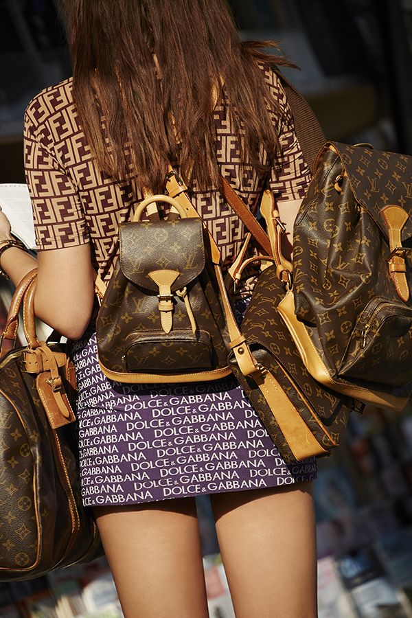 Louis Vuitton Monogram Backpack, Dolce  Gabanna Namesake Mini Skirt - top coming soon! #nastygalvintage