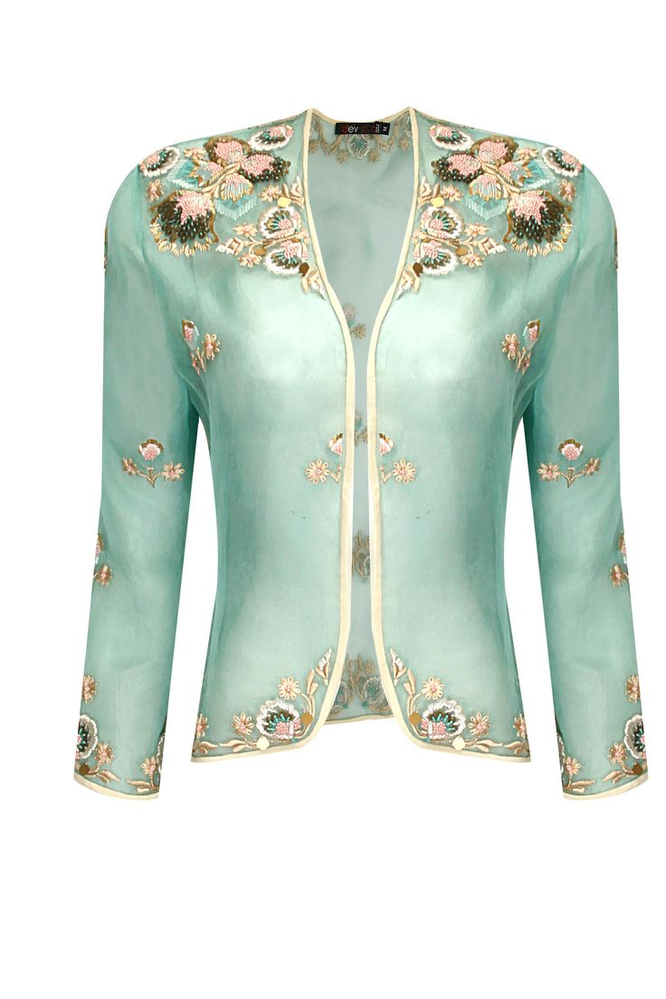 Mint folk flower embroidered organza jacket by Dev R Nil Shop now: http://www.perniaspopupshop.com/designers/dev-r-nil #shopnow #perniaspopupshop #DevRNil