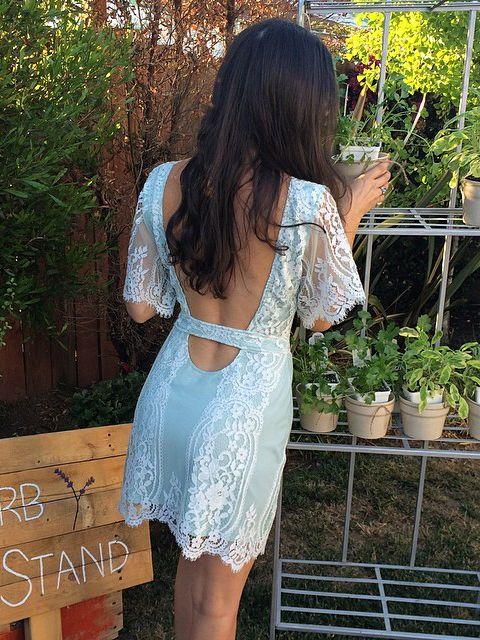Mint Lace Backless Dress