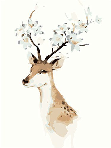 Shuaxin Diy Oil Painting Paint by Number Kits Winter Abstract Deer 1620inch Frameless *** Continue to the product at the image link.