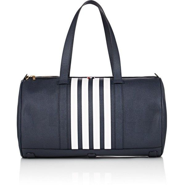 Thom Browne Men's Unstructured Leather Duffel Bag (49,815 THB) ❤ liked on Polyvore featuring men's fashion, men's bags, navy, mens leather duffle bag, mens leather duffel bag, mens leather bag, mens bag and men's duffel bags