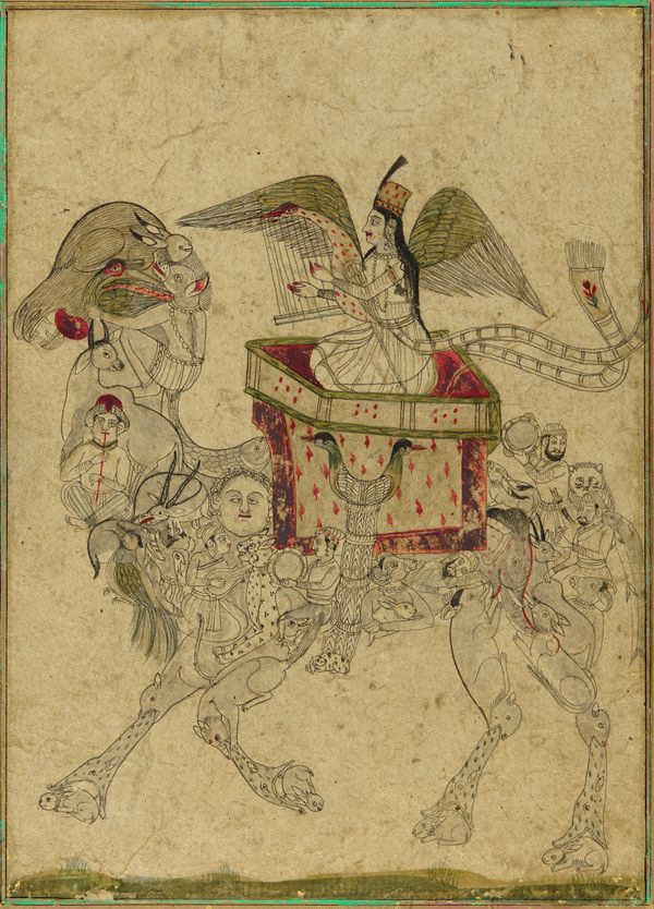South Asian and Himalayan Art   A Composite camel and a rider - 19th century. Mughal dynasty - Ink, color, and gold on paper. H: 18.6 W: 13.4 cm. India.