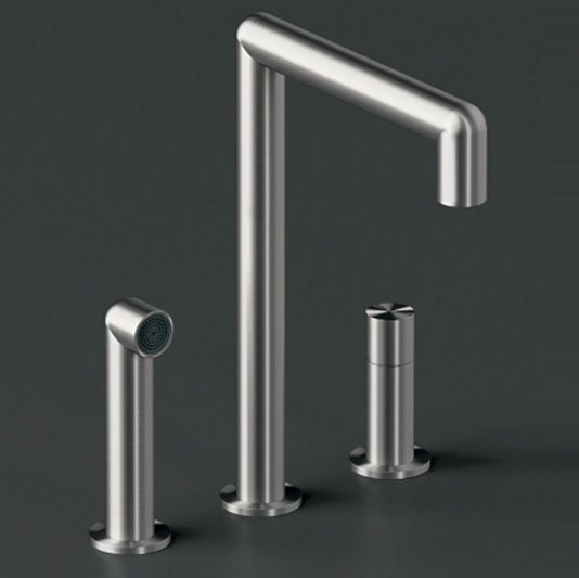"""KITCHEN TAP  collection: """"Cartesio"""" stainless steel possible finishes: satin, polished code: LKCAR07 producer: CEA design"""