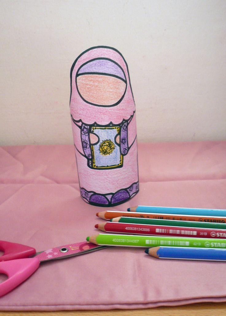 paper doll muslima:imprimer colorier découper coller pour réaliser la petite muslim et son Coran