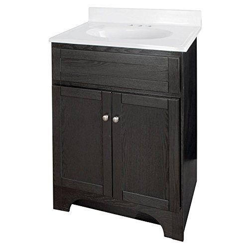 Dimensions: 25W x 19D x 36.25H in. Transitional vanity in black finish Veneer over solid and engineered wood