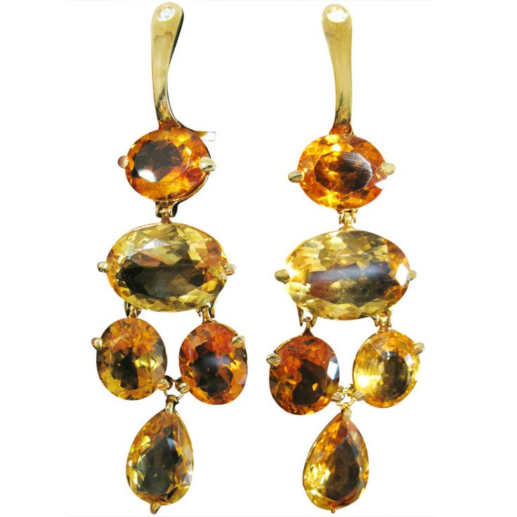 Two color's citrine pendant earrings. | From a unique collection of vintage chandelier earrings at http://www.1stdibs.com/jewelry/earrings/chandelier-earrings/