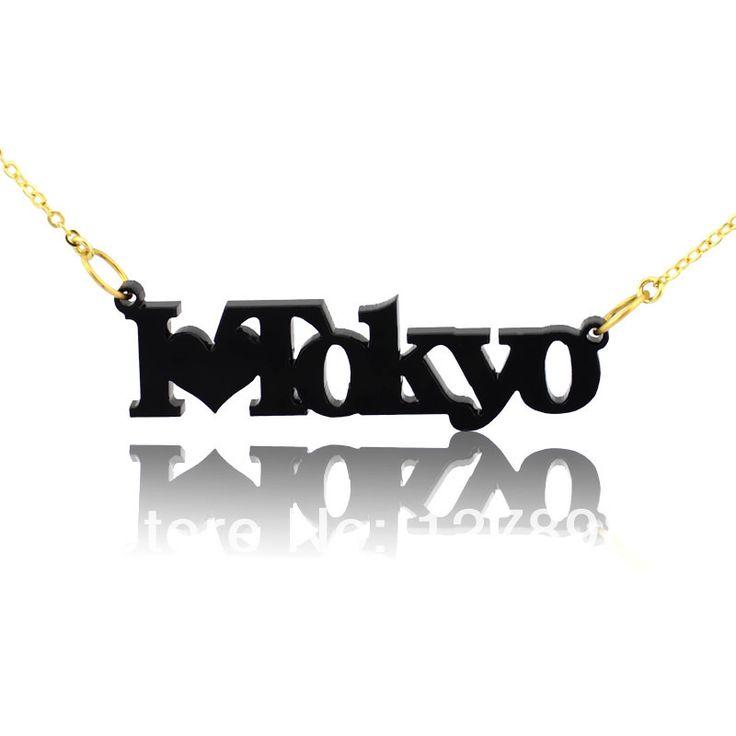 Персонализированные Акриловые Имя Ожерелье Я Люблю Имя Ожерелье С Сердцем Персонализированные Ожерелье Черное Сердце Ювелирных Изделий