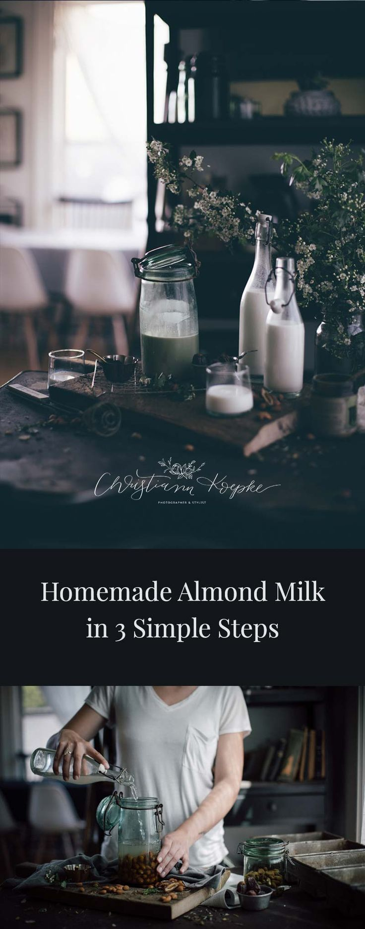 Learn how to make your own almond milk! Almond milk is delicious purely on it's own, but also in a bowl with granola, and steamed for a dairy free latte!