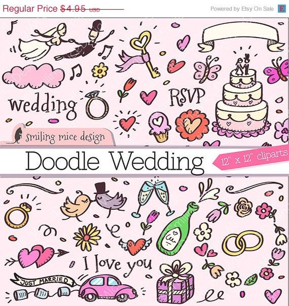 Doodle Wedding Clipart / wedding digital clipart pack / sketchy hand drawn wedding doodles for invitation cards and more