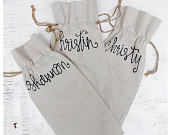 The perfect personalized gift for your Bridesmaid! Whats included in this listing package: One Personalized Champagne Flute One Personalized Burlap Polka Dot Tote One Personalized Bridesmaids Dress Hanger Leave color of ribbon and bridesmaids name(s) in box when checking out! Care for champagne glasses- hand wash recommended, dishwasher safe. Questions? Just ask