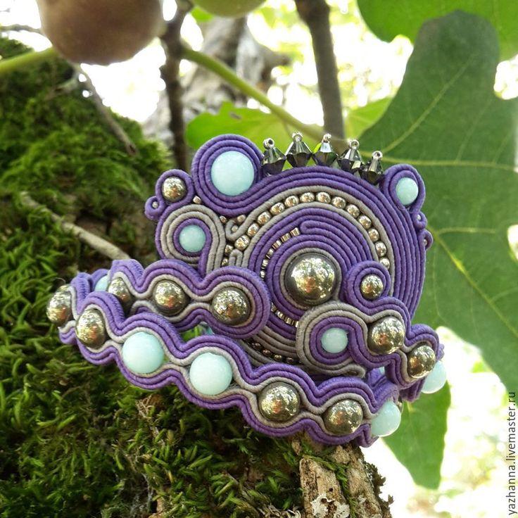 Купить Сутажный браслет с нефритом и пиритом - фиолетовый, браслет, сутажные украшения, комплект украшений