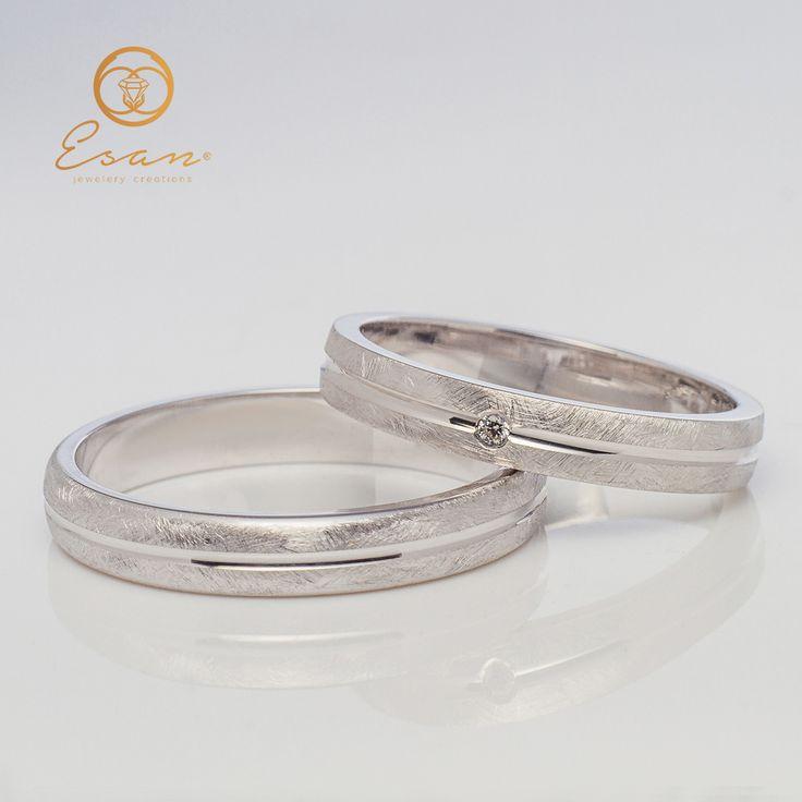 Verighete din aur alb cu diamant ESV65