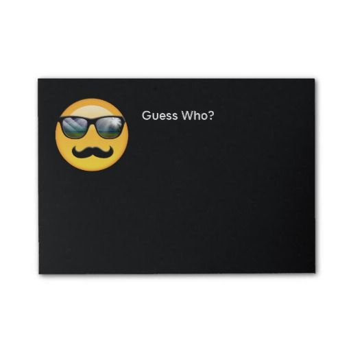 Emoji Super Shady ID230 Post-it® Notes...This fun post-it note features a designer original emoji called 'Super Shady' who is wearing bright, reflective sunglasses and a big black 'stache. Maybe he's a detective or an undercover agent but he's definitely hiding something. If you look closely, you'll see the beach and a palm tree reflected in his shades. The optional text 'Guess Who' is just an example of how you might make use of Shady's mysterious character.