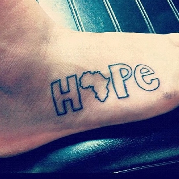 HOPE .. Outline of Africa as the O.
