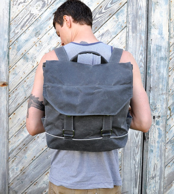 Waxed Canvas Backpack - The Fort Ethan Backpack in Charcoal