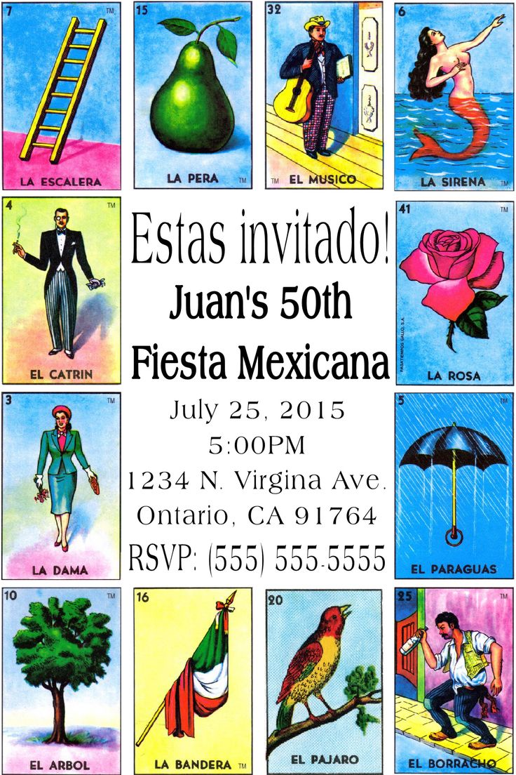 Mexican card game loteria Invitation-To place orders or follow me on Facebook please click on image twice.