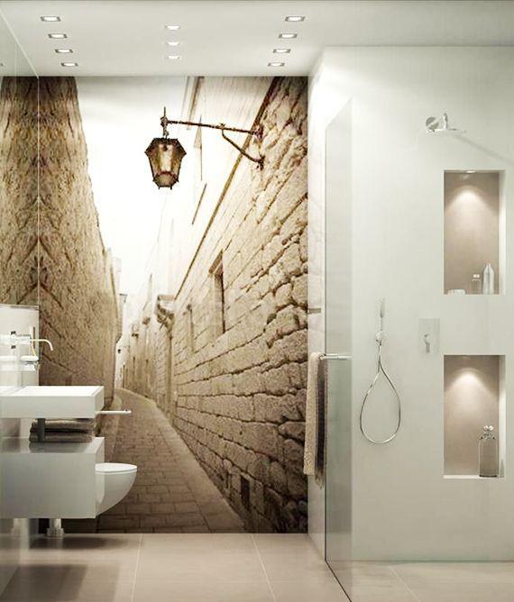 Effektive Wand Und Raumgestaltung Mit Fototapete Tapeten Furs Badezimmer Modern Bathroom Design Bathroom Wallpaper Modern Bathroom