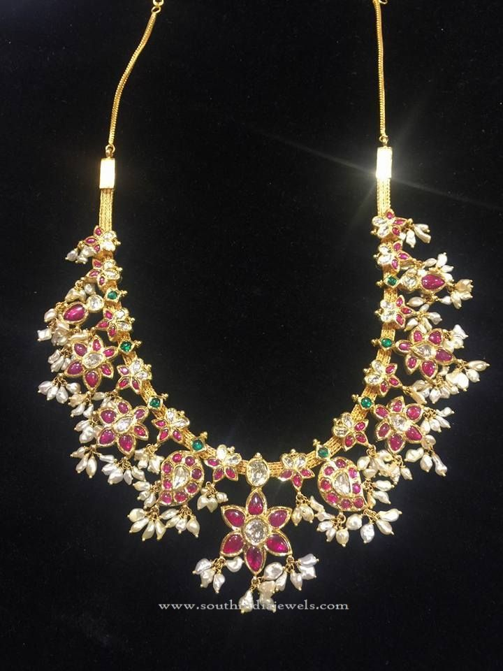 Short Gold Guttapusalu Necklace Designs, Short Gold Necklace Collections.